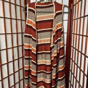 Autumn color open Flowy chevron vest